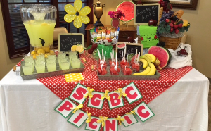 Vienna branch displays a table of lemonade and snacks for customer appreciation day