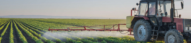 photo of tractor riding through a green field spraying the rows of plants