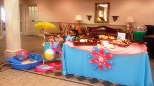 Ashburn branch displays a summertime themed table and snacks for customer appreciation day